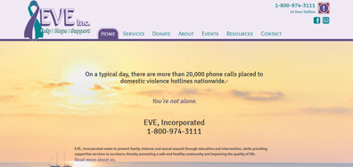 Eve Shelter web design sample
