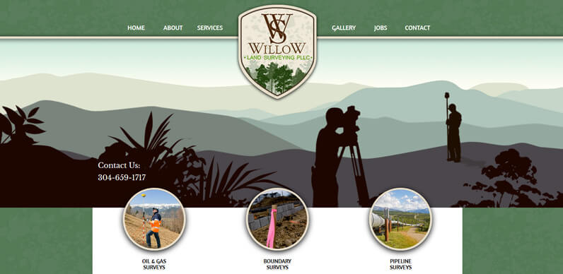Willow Land Surveying Web Design sample