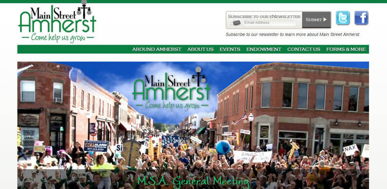 Main Street Amherst web design sample